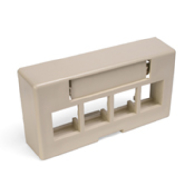 Leviton 49910-EI4 Leviton 49910-EI4 QuickPort® Extended Depth Modular Furniture Faceplate; 4-Port, ABS Plastic, Ivory