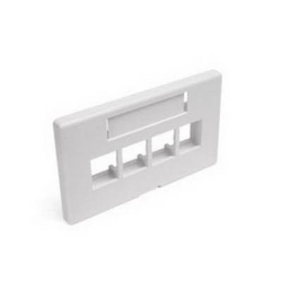 Leviton 49910-HW4 Leviton 49910-HW4 QuickPort® Modular Furniture Faceplate; 4-Port, Insert/Snap-In Mount, White
