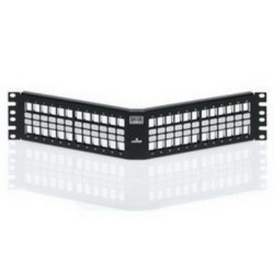 Leviton 4S256-S48 Leviton 4S256-S48 QuickPort® Angled Patch Panel; Rack Mount, 48-Port, 2-Rack Unit, Black