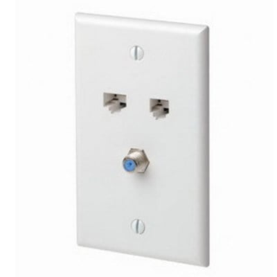 Leviton 5EA20-S3T Leviton 5EA20-S3T QuickPlate™ 3 Gang Standard Size Wallplate; (1) CAT 5e Data Connector, (1) Phone Connector, (1) F-Type Connector, ABS Plastic, Light Almond