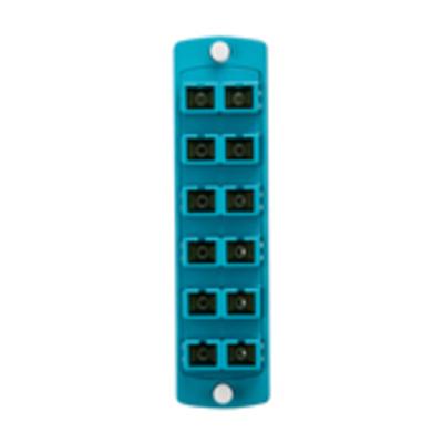 Leviton 5F100-2QC Leviton 5F100-2QC OPT-X® Precision SC Molded Plate; Rack/Wall Mount, Multimode, 50/125 um, 6 Duplex Fibers, Aqua