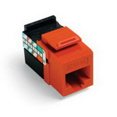 Leviton 5G108-RO5 Leviton 5G108-RO5 GigaMax® QuickPort® Category 5e Modular Jack; Snap-In/Surface/Flush Mount, 8P8C, Orange