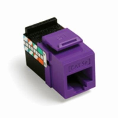 Leviton 5G108-RP5 Leviton 5G108-RP5 GigaMax® QuickPort® Category 5e Modular Jack; Snap-In/Surface/Flush Mount, 8P8C, Purple