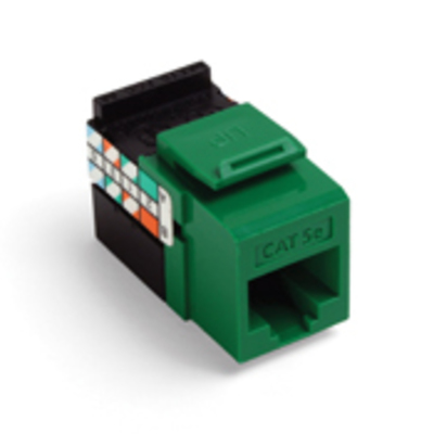 Leviton 5G108-RV5 Leviton 5G108-RV5 GigaMax® QuickPort® Category 5e Modular Jack; Snap-In/Surface/Flush Mount, 8P8C, Green