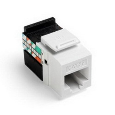 Leviton 5G108-RW5 Leviton 5G108-RW5 GigaMax® QuickPort® Category 5e Modular Jack; Snap-In/Surface/Flush Mount, 8P8C, White