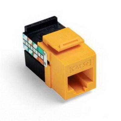 Leviton 5G108-RY5 Leviton 5G108-RY5 GigaMax® Category 5e Modular Jack; Snap-In/Surface/Flush Mount, 8P8C, Yellow