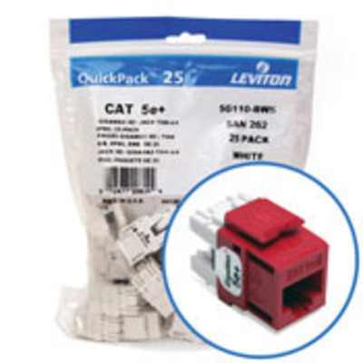 Leviton 5G110-BC5 Leviton 5G110-BC5 GigaMax® QuickPort® Category 5e+ Modular Connector; Snap-In/Surface/Flush Mount, 8P8C, Crimson Red, 25/Pack