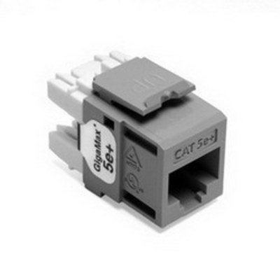 Leviton 5G110-RG5 Leviton 5G110-RG5 GigaMax® Category 5e+ Modular Connector; Snap-In/Surface/Flush Mount, 8P8C, Gray