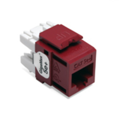 Leviton 5G110-RR5 Leviton 5G110-RR5 eXtreme® QuickPort® CAT 5e Component-Rated UTP Connector; 8P8C, 110 Punch Down, Surface/Flush Mount, Red