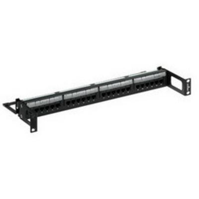 Leviton 5G596-R24 Leviton 5G596-R24 GigaMax® 110-Punchdown Category 5e Recessed Patch Panel; Rack Mount, 24-Port, 1-Rack Unit, Black