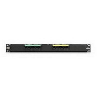 Leviton 5G596-U12 Leviton 5G596-U12 GigaMax® Universal Category 5E Patch Panel; Wall Mount, 12-Port, 1-Rack Unit, Black