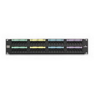 Leviton 5G596-U48 Leviton 5G596-U48 GigaMax® Universal Category 5E Patch Panel; Wall Mount, 48-Port, 2-Rack Unit, Black