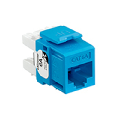 Leviton 6110G-RL6 Leviton 6110G-RL6 eXtreme® 10G Quickport® Channel Rated Category 6A Connector; 1 Port, Crimp Connection, Surface/Flush Mount, Fire-Retardant Plastic, Blue