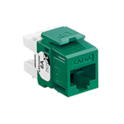 Leviton 6110G-RV6 Leviton 6110G-RV6 eXtreme® QuickPort® Channel-Rated Category 6A Jack Connector; Crimp/110 IDC Punchdown, Flush/Surface Mount, Plastic, Green