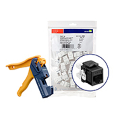 Leviton 61110-JE6 Leviton 61110-JE6 eXtreme® QuickPort® Category 6 Connector with Jack Rapid Tool; Snap-In/Panel/Wall Plate Mount, Black, 150/Pack