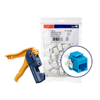 Leviton 61110-JL6 Leviton 61110-JL6 eXtreme® QuickPort® Category 6 Connector with Jack Rapid Tool; Snap-In/Panel/Wall Plate Mount, Blue, 150/Pack