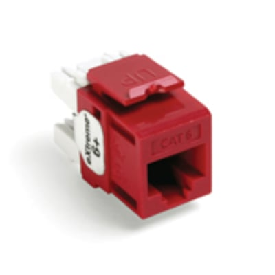 Leviton 61110-RC6 Leviton 61110-RC6 eXtreme® QuickPort® Category 6 Modular Connector; Snap-In/Panel/Wall Plate Mount, 8P8C, Crimson Red