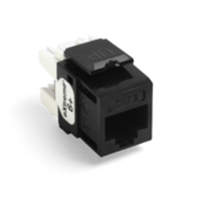 Leviton 61110-RE6 Leviton 61110-RE6 eXtreme® QuickPort® Category 6 Modular Connector; Snap-In/Panel/Wall Plate Mount, 8P8C, Black