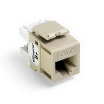 Leviton 61110-RI6 Leviton 61110-RI6 eXtreme® QuickPort® Category 6 Modular Connector; Snap-In/Panel/Wall Plate Mount, 8P8C, Ivory