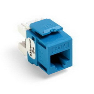 Leviton 61110-RL6 Leviton 61110-RL6 eXtreme® QuickPort® Category 6 Modular Connector; Snap-In/Panel/Wall Plate Mount, 8P8C, Blue