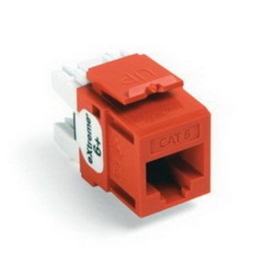 Leviton 61110-RO6 Leviton 61110-RO6 eXtreme® QuickPort® Category 6 Modular Connector; Snap-In/Panel/Wall Plate Mount, 8P8C, Orange