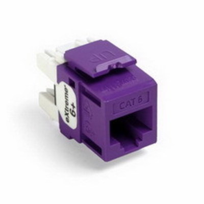 Leviton 61110-RP6 Leviton 61110-RP6 eXtreme® QuickPort® Category 6 Modular Connector; Snap-In/Panel/Wall Plate Mount, 8P8C, Purple