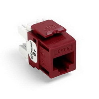 Leviton 61110-RR6 Leviton 61110-RR6 eXtreme® QuickPort® Category 6 Modular Connector; Snap-In/Panel/Wall Plate Mount, 8P8C, Dark Red
