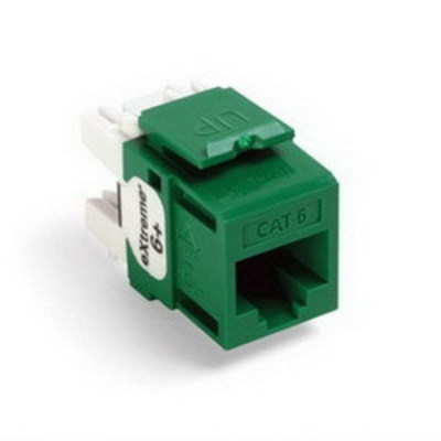 Leviton 61110-RV6 Leviton 61110-RV6 eXtreme® QuickPort® Category 6 Modular Connector; Snap-In/Panel/Wall Plate Mount, 8P8C, Green