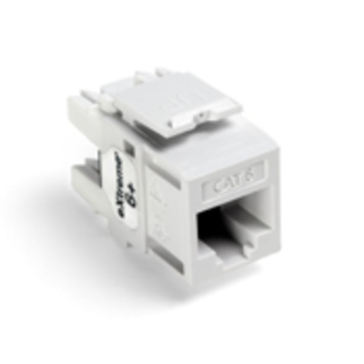 Leviton 61110-RW6 Leviton 61110-RW6 eXtreme® QuickPort® Category 6 Modular Connector; Snap-In/Panel/Wall Plate Mount, 8P8C, White