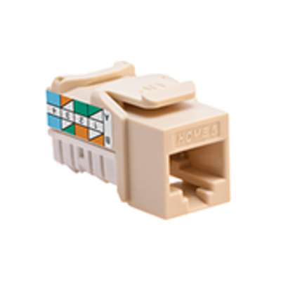 Leviton 61HOM-RI6 Leviton 61HOM-RI6 Home 6® Category 6 Jack; 110 IDC Punchdown, Snap-In/Flush/Surface Mount, Plastic, Ivory
