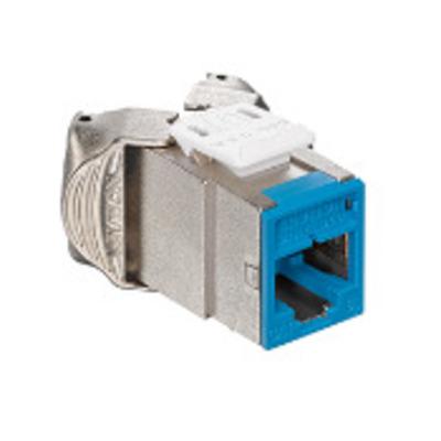 Leviton 61SJK-RL6 Leviton 61SJK-RL6 Atlas-X1™, QuickPort® Component-Rated CAT 6 Modular Connector; 2-Port, IDC Punchdown, Surface/Panel/Faceplate Mount, Blue