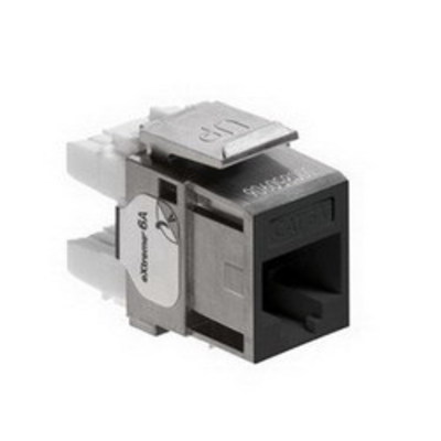 Leviton 6A10G-RE6 Leviton 6A10G-RE6 eXtreme® QuickPort® Component-Rated Category 6A Connector; Snap-In Mount, 8P8C, Black