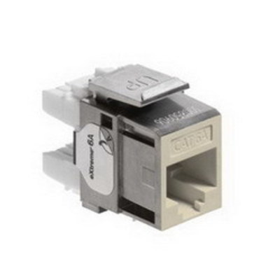 Leviton 6A10G-RI6 Leviton 6A10G-RI6 eXtreme® QuickPort® Component-Rated Category 6A Connector; Snap-In Mount, 8P8C, Ivory