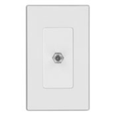 Leviton 80381-W Leviton 80381-W DecoraPlus® 1-Gang CATV Wall Jack; Flush Mount, Plastic, White