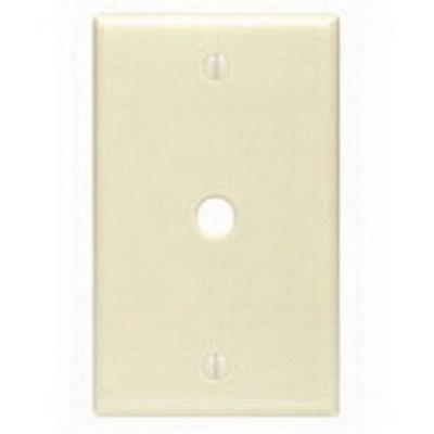 Leviton 80513-I Leviton 80513-I 1-Gang Telephone/Cable Wallplate; Box Mount, Thermoset, Smooth, Ivory