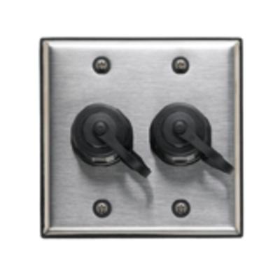 Leviton D670K-2S2 Leviton D670K-2S2 DuraPort® 2-Gang Industrial Outlet Kit; 2-port, 302 Stainless Steel Wallplate, Polybutylene Terephthalate Connector, Screw Mount