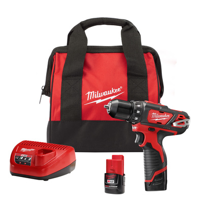 Milwaukee Electric Tools 2407-22 Milwaukee Tools 2407-22 M12™ Drill/Driver Kit; 12 Volt, 7.375 Inch Length x 3/8 Inch Chuck, 275 Inch-lb Torque, Redlithium™ Battery