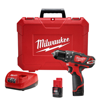 Milwaukee Electric Tools 2408-22 Milwaukee Tools 2408-22 M12™ Cordless Hammer Drill/Driver Kit; 12 Volt AC, 7-1/2 Inch Length x 3/8 Inch Chuck, 0 - 400/0 - 1500 RPM
