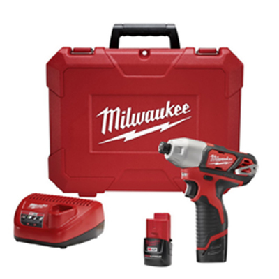 Milwaukee Electric Tools 2462-22 Milwaukee Tools 2462-22 M12™ Hex Impact Driver Kit; 12 Volt, 6.5 Inch Length x 1/4 Inch Drive, 1000 ft-lb Torque
