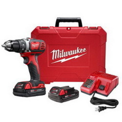Milwaukee Electric Tools 2606-22CT Milwaukee Tools 2606-22CT M18™ Compact Drill/Driver Kit; 18 Volt, 7.25 Inch Length x 1/2 Inch Chuck, 500 Inch-lb Torque, Redlithium™ Battery