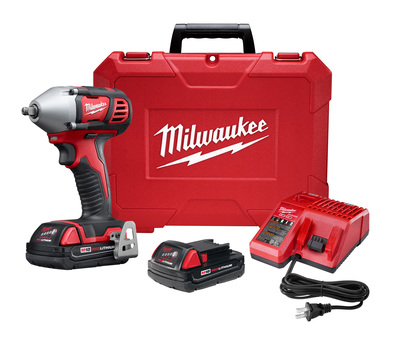 """Milwaukee Electric Tools 2658-22CT Milwaukee Tool  2658-22Ct  M18  3/8"""" Impact Wrench Kit With Friction Ring And 2 Compact Batteries"""