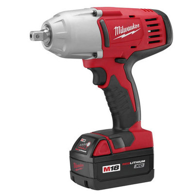 Milwaukee Electric Tools 2662-22 Milwaukee Tools 2662-22 M18™ High-Torque Impact Wrench With Pin Detent Kit; 18 Volt, 8.875 Inch Length x 1/2 Inch Drive, 450 ft-lb Torque
