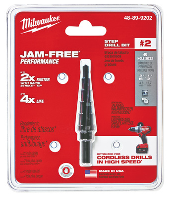 Milwaukee Electric Tools 48-89-9202 Milwaukee Tools 48-89-9202 #2 Step Drill Bit; 3/16 to 1/2 Inch, 6 Increment, 1/4 Inch 3-Flat Secure-Grip Shank, Black Oxide