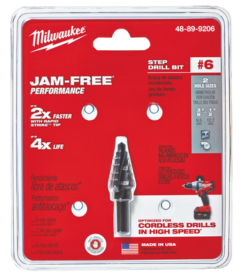 Milwaukee Electric Tools 48-89-9206 Milwaukee Tools 48-89-9206 #6 Step Drill Bit; 3/8, 1/2 Inch, 2 Increment, 1/4 Inch 3-Flat Secure-Grip Shank, Black Oxide