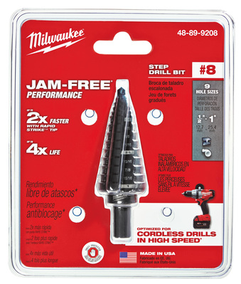 Milwaukee Electric Tools 48-89-9208 Milwaukee Tools 48-89-9208 #8 Step Drill Bit; 1/2 to 1 Inch, 9 Increment, 3/8 Inch 3-Flat Secure-Grip Shank, Black Oxide