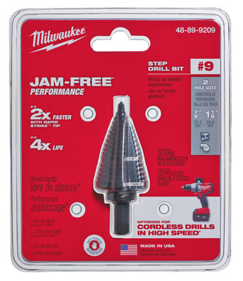 Milwaukee Electric Tools 48-89-9209 Milwaukee Tools 48-89-9209 Heavy Duty Step Drill Bit; 7/8 Inch, 2 Increments, 3/8 Inch Shank, High Speed Steel, Black Oxide