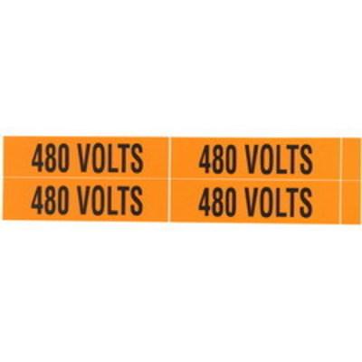 NSI VM-B-35 NSI VM-B-35 Pressure-Sensitive Voltage Marker; 120 Volt to 208 Volt Legend, Vinyl, Black On Orange Background