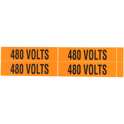 NSI VM-B-5 NSI VM-B-5 Pressure-Sensitive Voltage Marker; 220 Volt Legend, Vinyl, Black On Orange Background