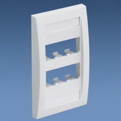 Panduit CFPE6WHY Panduit CFPE6WHY Mini-Com® 1-Gang Flat Faceplate; (6) UTP, STP, Fiber-Optic, A/V Port, ABS, White