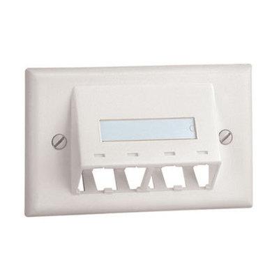 Panduit CFPHSL4IW Panduit CFPHSL4IW Mini-Com® 1-Gang Sloped Faceplate; (4) UTP, STP, Fiber-Optic, A/V Port, ABS, Off White